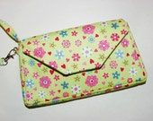Wristlet Small Mini Purse Girls Cell Phone iPhone Smartphone iPod Horizontal: Lime Apple Green Pink Blue Flowers Clearance 40% Off