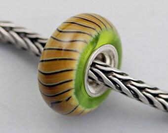 Raku Twist Bead on Green - European Charm / Bracelet Bead (OCT-10)