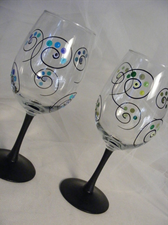 painted wine glasses with polka dots and swirls and black stem - can be made in your choice of colors
