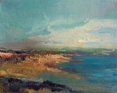 Waters Edge- Beach Painting- Textured Oil Painting- 8 x 10 Stretched Canvas- Gallery Wrapped 3/4 inch painted sides