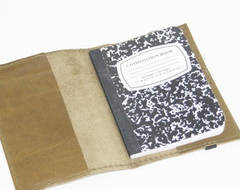 Olive Green Leather Refillable Notebook by Binding Bee