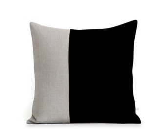 Custom Linen Pillow Cover in Black and Natural (18x18) by JillianReneDecor Modern Home Decor - Two Tone
