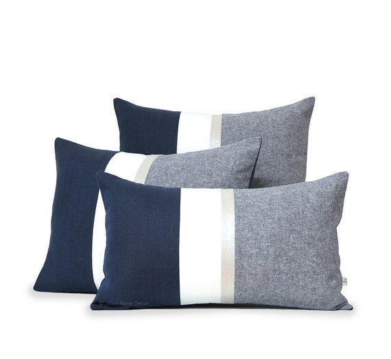 Metallic Silver Stripe Pillow Cover in Navy and Cream Modern