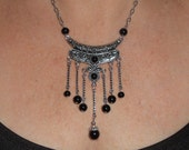 Black bib necklace, silver link onyx tassel pendant necklace, funky metal jewelry