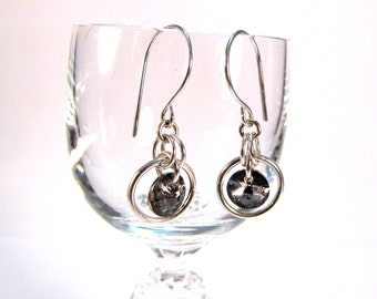 Sterling Silver Swarovski Drop Chainmaille Earrings