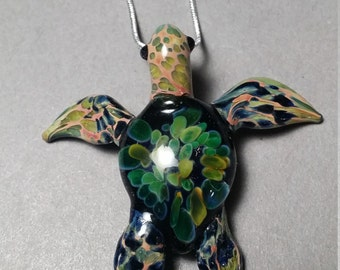 Green Blue Sea Turtle Pendant with chain or cord