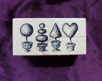 PSX Topairy / Garden / Bushes Vintage Rubber Stamp