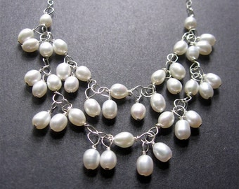 Pearl Statement Necklace, Pearl Necklace, Bridal Jewelry, Pearl Bib Necklace