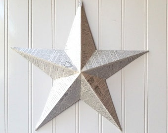 Wall star barn star vintage French dictionary text collage metal star 12 inch home decor 3D Cottage Chic