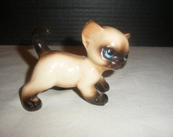 Vintage 1950's Siamese Kitten Cat Ceramic Figurine
