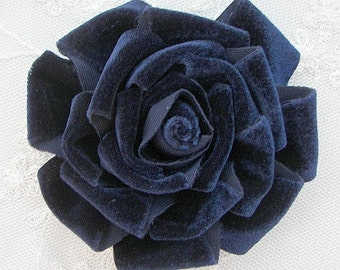 3.5 inch Navy Blue Velvet Ribbon Rose Fabric Flower Applique Hat Corsage Pin Baby Pageant Bridal Hair Accessory Applique