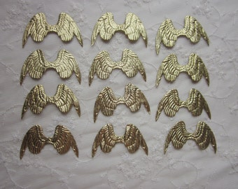 12 PC Gold 3 inch Angel Fairy Collage Altered Art Scrapbook Wings