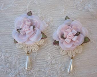 4pc PINK Pearl Beaded Tear Drop Satin Flower Applique w Leaves Leaf Bridal Baby Hair Accessory Headband