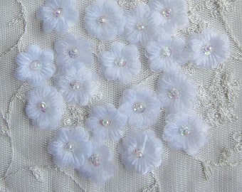 36pc Organza Sequin Beaded WHITE Fabric Flower Applique Handmade Hand Dyed Baby Doll Dress