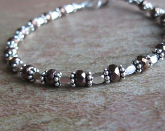 Faceted Copper Hematite Hill Tribes Silver Sterling Silver Bracelet