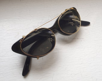 50's Cat Eye Clip On Steampunk Gold Gild Metal Frame Sunglasses Non RX Grey Lenses