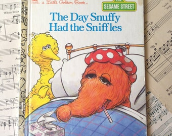Golden Book Journal No. 059 Sesame Street Sniffles-Made Just for YOU! Golden Book Journal with Hand Torn 140lb Cold Press Watercolor Paper