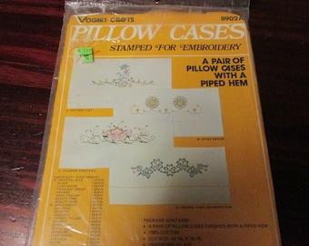 Vintage Stamped Pillowcase Set to Embroider Potter Cat Vogart 8902A Stamped Goods