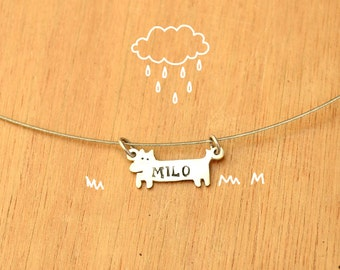 Dog with name stamped-Personalized Pet Necklace-Sterling Silver-Animal Dog Pendant