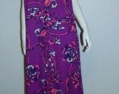 MOD purple floral MAXI dress / muumuu Luau gown / 1960s vintage Mildreds of Hawaii XL