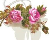 Flower Rose Botanical Vintage Digital Illustration Printable Clip Art Image Download