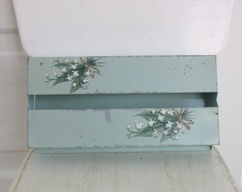 Vintage Tissue Box Holder Metal Blue Flowers Lilly of the Valley Cottage Shabby Chic Tin
