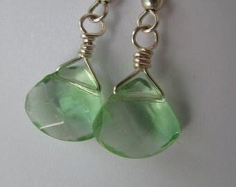 Green Crystal Earrings, Green Faceted Briolette Earrings, Light Green and Silver Earrings