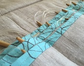 Circular Knitting Needle Case - Linen with Turquoise Cotton Trim - Fun Looping Thread Pattern - Gift for Knitter