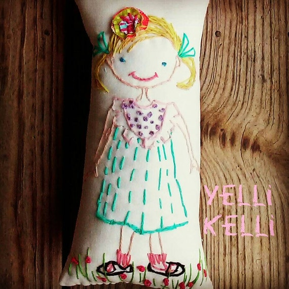 Your Child Freehand Stitched on Canvas Pillow in Wool Yarn  Made To Order