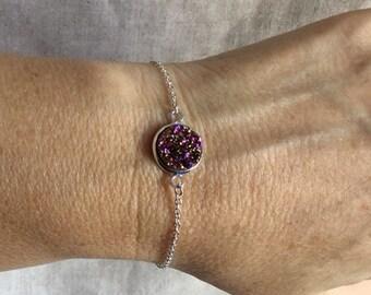 Druzy Bracelet, rose gold Drusy, Blue Druzy Bracelet, Druzy Jewelry,
