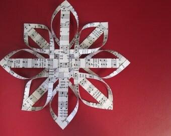 Vintage Hymnal Ornament-Finnish Star Ornament-Woven Paper Ornament-3D Star-Music Ornament-Musician Gift-Teacher Gift-Religious Ornament