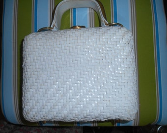Vintage White Woven Square Purse with handle Made in Hong Kong