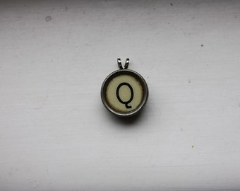Vintage Typewriter Letter Q Typekey Pendant on Ball Chain