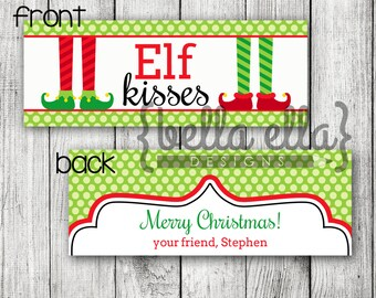 Personalized Elf Kisses Printable Bag Topper