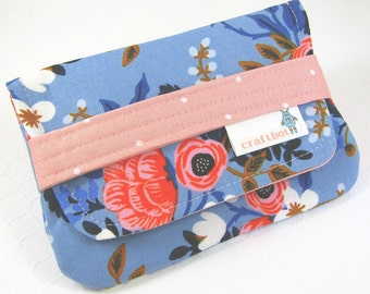 Sanitary Pad Holder, Blue Floral, Period Bag, Period Kit, Pads Pouch, Sanitary Napkins Bag, Period Pads, Rifle Paper, Pad Case, Tampon Case