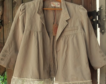 Cropped Lace Trimmed Jacket/ Sm-Med Tan File Cropped Jacket/ Sheerfab Funwear