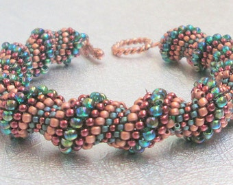 copper and green beaded jewelry cellini bracelet seed bead
