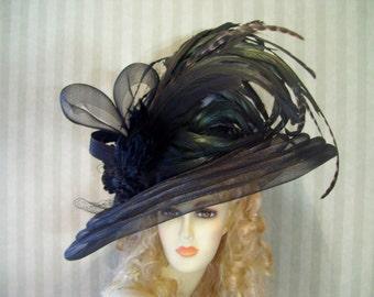 Kentucky Derby Hat, BlaCk Wide Brim Hat, Tea Hat, Wedding Hat, Church Hat, Victorian Hat, Downton Abbey Hat, Halloween Hat