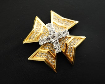 Art deco style vintage 80s gold tone metal , large, heavy maltese cross  brooch with a clear rhinestones.