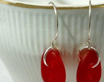 Modern Red Earrings, Casual Red Earrings, Red Cultured Sea Glass Earrings, Sterling Silver Red Earrings, Holiday Earrings,Patriotic Earrings