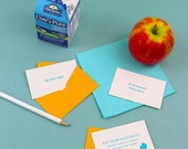 Lunch Box Notes - a little message for your little one. Set of 15 different letterpress messages with tiny envelope