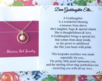 GODDAUGHTER Gift With POEM CARD   Goddaughter Jewelry Gift For Goddaughter  Pearl Sterling Silver Baptism Confirmation