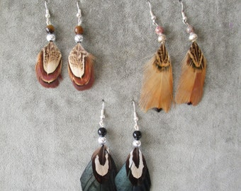 Pheasant earrings . . . .set of 3 pairs . . . .Earring collection set 006