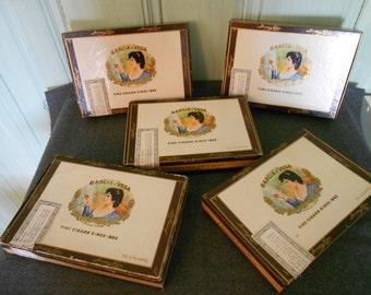Vintage Cigar Boxes Garcia Y Vega - Cardboard - Five