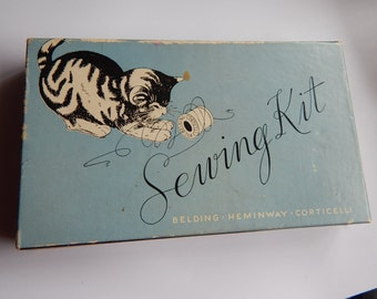 Delightful Kitty Sewing Kit - Vintage Sewing Collectibles - Sewing Threads - Vintage Advertising