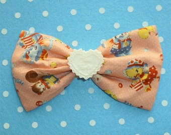 SALE Cute Vintage Style Toy Friends Hair Bow Clip with Cream Tea Party Heart Detail