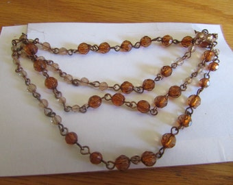Brown bead layer chain necklace