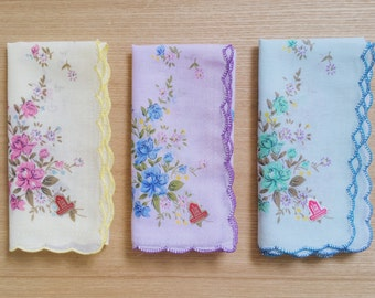 3 Old Fashion Handkerchiefs Scalloped Floral Assortment D