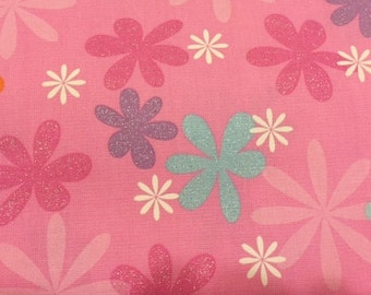 Funky Flowers fabric | Cotton Twill fabric | Pink Purple Blue White