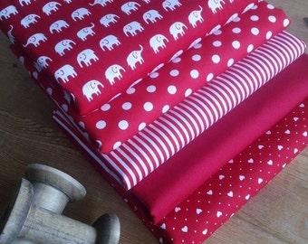 Fabric Bundle Mini Nellies in Red  fat Eighths tissu